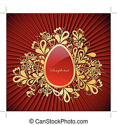 Easter gold Egg Vector - Easter eggVector decorative...