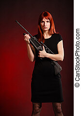 Sniper Woman - woman in black dress with sniper rifle, red...