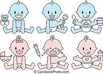 baby boys and girls, vector - set of baby boys and girls,...