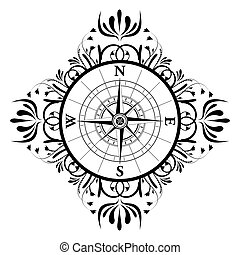 Floral Compass - illustration of floral compass on isolated...
