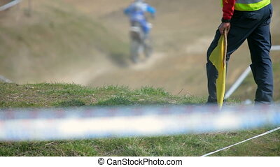 Motocross - bikers race in dry, dusty conditions