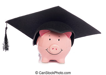 Piggybank with mortar board hat studio cutout