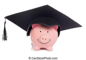 Piggybank with mortar board hat studio cutout
