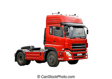 Red truck - Cherry red haulage truck isolated over white