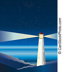 lighthouse - an illustration of a lighthouse on rocks with...