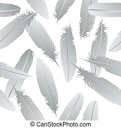 Seamless feathers pattern over white background