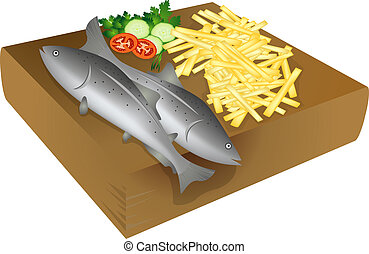 Fish and chips on a wooden plate, isolated objects over...