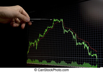 falling forex stock chart with pen pointing on peak - green...