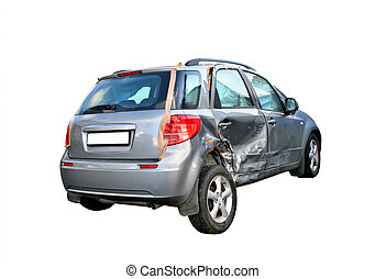 Damaged car - A grey damaged car isolated on white