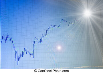 growing forex chart with light in the end - blue growing...