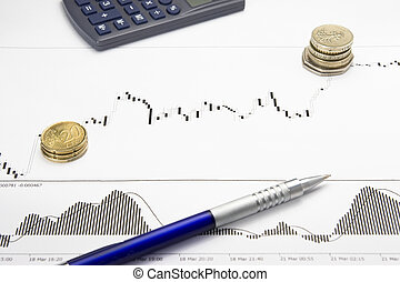 printed forex growing chart with money profit - forex...