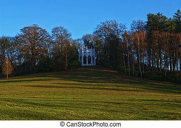 white folly at windlesham arberetum - white castle folly on...