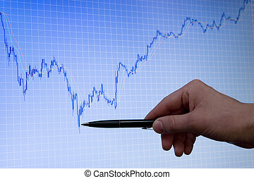 blue growing forex chart on display and hand with pen - blue...