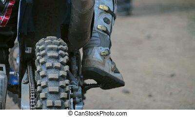 motocross start pending. rear Wheel motorbike