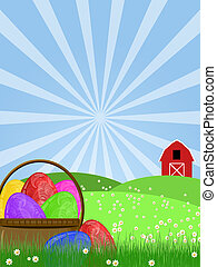 Happy Easter Egg Basket on Green Pasture