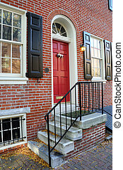 Front Door of Residence in Old City Philadelphia,...