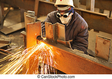 trabajador, Utilizar, antorcha, cortador, corte, por, metal