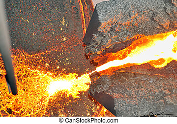 pouring molten steel