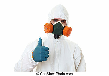 Man in protective suit, a mask and a respirator Thumbs up...