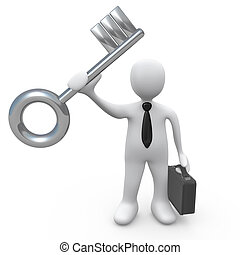 Key To Success - Business person holding a large key....