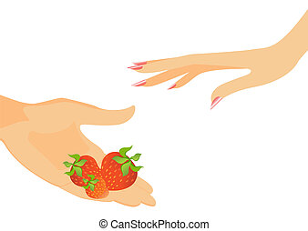 The man's hand gives a strawberry