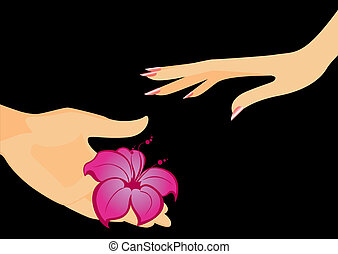 The man's hand gives a flower