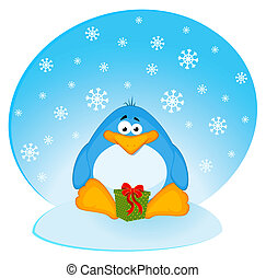 cartoon penguin - Vector cartoon penguin on an iceberg in an...