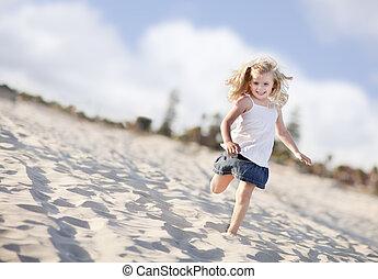 Adorable Little Girl Having Fun at the Beach