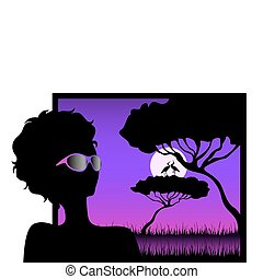 girl against a decline in a safari - Silhouettes of the...