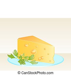 Tasty yellow cheese on a plate