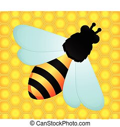 funny bees - beautiful bright background with funny bees