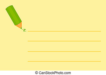 yellow sticky with a pencil - illustration of a yellow...
