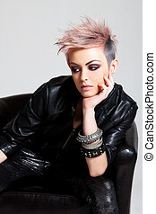 Attractive Young Woman in Punk Attire - An attractive young...