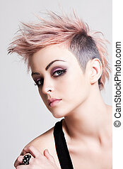 Young Female Punk with Pink Hair - Head and shoulders...