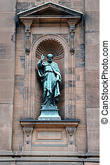 Saint Paul Statue outside historic Saint Peter and Paul...