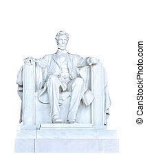 Abraham Lincoln statue cutout under white background