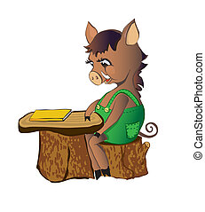 Pig sits at a school desk - Pig wild boar sits at a school...