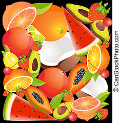 tropical exotic fruit - Beautiful bright background from...