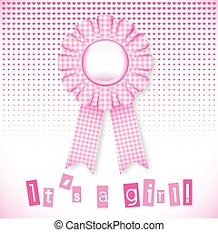 Pink baby card - Baby pink card announcement with cockade