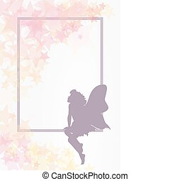 Fairy and frame - Delicate fairy shape with flowers