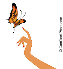 butterfly sits down on a  hand