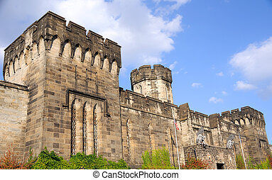Outer Walls of Historic Eastern State Penitentiary in...