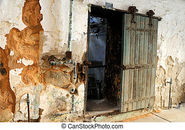 Old Sliding Prison Door in Historic Penitentiary
