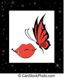 butterfly sits down on lips