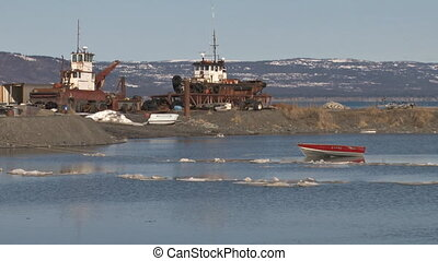 Rowboat and two Tugs - Potential fishing/shipping industry...