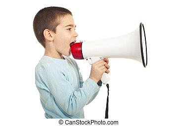 Profile of boy shouting loudspeaker - Profile of boy...