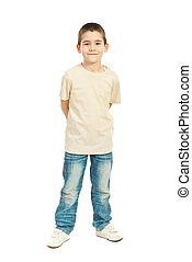 Full length of child boy in blank beige t-shirt isolated on...