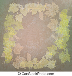 grunge illustration with grape leaves on green