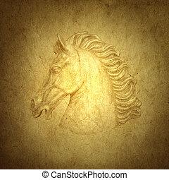 horse - Beautiful horse on old nostalgic background
