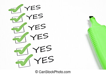 quot;Yesquot; checkboxes - Many Yes checkboxes marked with...